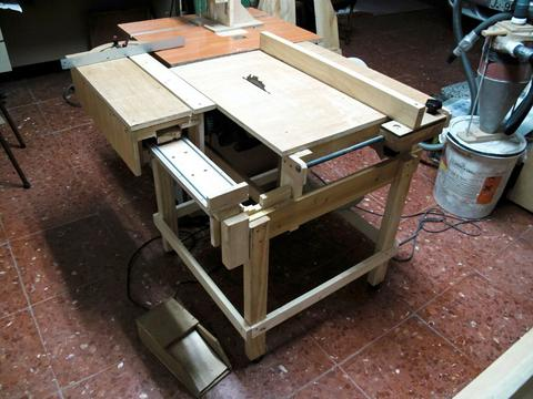 Sliding Tablesaw Homemade : See here (You will need to scroll around that page a bit)
