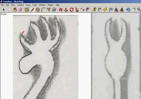 So I Started By Importing A Photo Of The Pattern Into Google SketchUp And Tracing An Outline Reindeer Using As Template