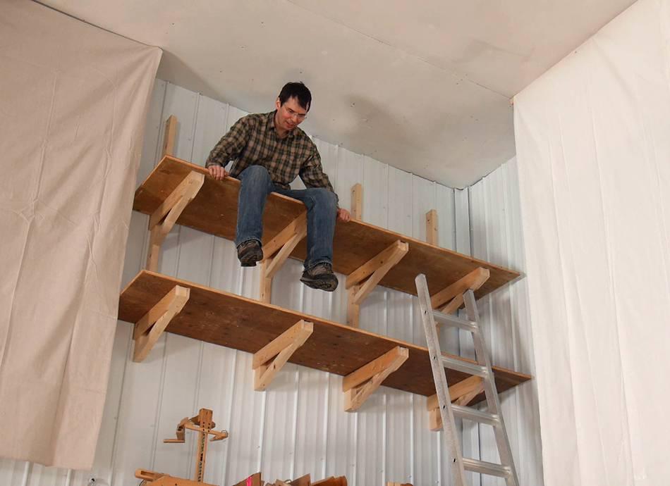 Way-up-high cantilevered garage shelves